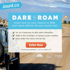 Enter NOW for your chance to #win a 10-day safari adventure in #KENYA - contest open to all residents of Canada excluding Quebec