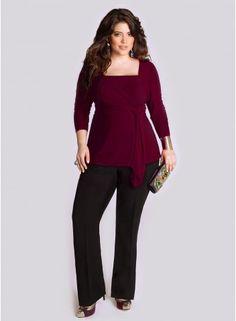 Luella Plus Size Infinity Tunic in Fall Ruby by Igigi on CurvyMarket.com