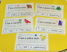 Brown Bear Activity Cut and Paste Sentence Printables Great color word and back to school activity https://www.teacherspayteachers.com/Product/I-see-Animal-Color-Word-Sentences-1320365
