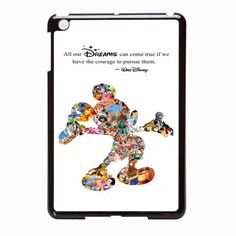 White Walt Disney Quote Mickey Mouse Character Montage iPad Mini Case