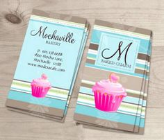 Bakery Business Card Vintage Stripes Blue This great business card design is available for customization. All text style, colors, sizes can be modified to fit your needs. Just click the image to learn more! | bizcardstudio.co.uk