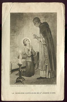 OLD HOLY CARD THE LAST COMMUNION OF STE JOAN OF ARC