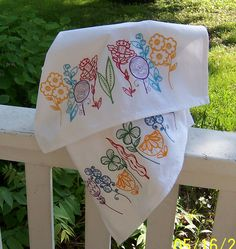Embroidered Tea Towel/ Kitchen Dish Towel Flowerl Garden Set by QuiltQuints on Etsy