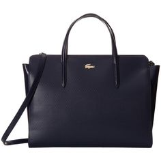 Lacoste Chantaco Shopping Bag (Peacoat) Handbags (425 CAD) ❤ liked on Polyvore featuring bags, handbags, shopper handbags, lacoste handbags, zip purse, hand bags and structured purse