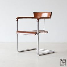 Office Chair Model: H-128 by Jindrich Halabala, 1935 (Czechoslovakia) Bauhaus style; chrome-plated tubular steel, stained beechwood