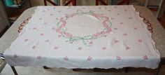 Vintage Embroidered Pink Floral Linen Tablecloth by FelicesFinds