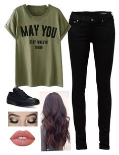 """Forever Young"" by kayladaas on Polyvore featuring Yves Saint Laurent, Converse and Lime Crime"