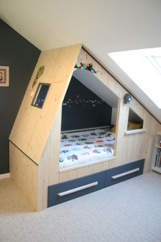 Tailor-made cabin bed for children with storage space n ย Cr 26 Lebeau Furniture Cr . - Tailor-made cabin bed for children with storage space n ย Cr 26 Lebeau Furniture Cr …, - Attic Bedrooms, Upstairs Bedroom, Kids Bedroom, Attic Bathroom, Childrens Cabin Beds, Cabin Beds For Kids, Cabin Bed With Storage, Under Bed Storage, Attic Renovation