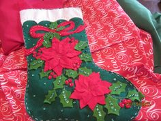 "Bucilla completed 18"" felt stocking ""Elegant Poinsettia"" by HandmadebySrc on Etsy https://www.etsy.com/listing/160089171/bucilla-completed-18-felt-stocking"
