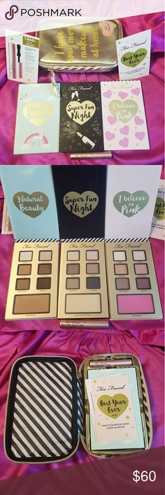 💖Too Faced Best Year Ever💖 Complete Set 💖NEW in box!!! 💖3 Eyeshadow Pallets 💖1 Mascara 💖1 makeup bag Too Faced Makeup Eyeshadow
