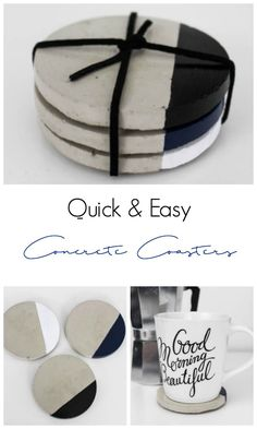 Quick & Easy Concrete Coasters If you have extra guests coming during the holidays a few of these concrete coasters could come in really handy. The post Quick & Easy Concrete Coasters appeared first on Beton Diy. Modern Coasters, Diy Coasters, Eco Deco, Beton Diy, Concrete Crafts, Concrete Pots, Concrete Design, Diy Home Decor, Decor Crafts