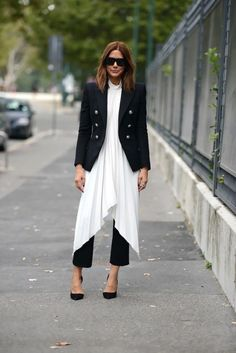 dress over pants outfit in black and white