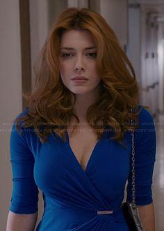 Louise's cobalt blue Michael Kors wrap dress on Revenge.  Outfit Details: http://wornontv.net/40571/ #Revenge