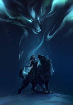 Aippaqs Segen von Innali - Mythical beings/creatures - Art Mystical Animals, Mythical Creatures Art, Magical Creatures, Fantasy Creatures, Fantasy Wolf, Dark Fantasy Art, Fantasy Artwork, Wolf Artwork, Werewolf Art