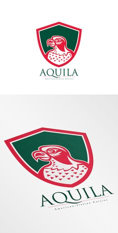 Aquila Italian Cuisine Logo. Logo showing illustration of a falcon hawk eagle bird head looking to side set inside shield crest on isolated background done in retro style. 100% re-sizeable