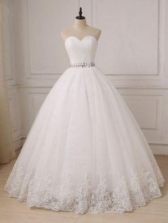 Cheap Sweetheart Tulle Lace Crystals Custom Plus Size Ball Gown Bride Dress Item. - Cheap Sweetheart Tulle Lace Crystals Custom Plus Size Ball Gown Bride Dress Source by - Wedding Dress Cinderella, Top Wedding Dresses, Sweetheart Wedding Dress, Wedding Dress Trends, Princess Wedding Dresses, Tulle Wedding, Prom Dresses, Strapless Wedding Dresses, Ballgown Wedding Dress