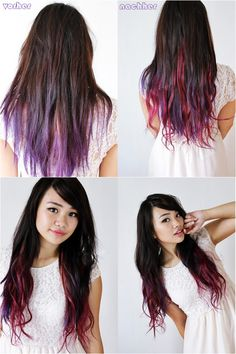 beautiful girl lilac red ombre hair style