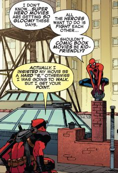 """Spider-Man and Deadpool: """"Superhero movies are getting so GLOOMY nowadays - all the heroes want to do is fight each other..."""""""