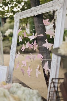 Guest book idea with escort cards (here in shape of birds) and painting frame Romantic Winery Wedding