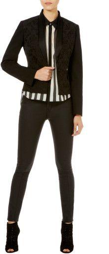 Karen Millen Brocade Tuxedo Jacket - Lyst