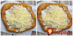 Výborné langoše bez vajíčka podľa pani Adriany B.Potrebujeme:1 kg polohrubej múky2 tégliky kyslé smotany1 kávová lyžička sódy bikarbóny1 kávová lyžička soli2,5 dcl mlieka3 polievkové lyžice olejaNa kvások:1,5 dl mlieka1 kávová lyžička cukruštipka solikocka čerstvého droždiana … Kefir, Ham, Vegetarian Recipes, Foodies, Pizza, Food And Drink, Bread, Meals, Nutella
