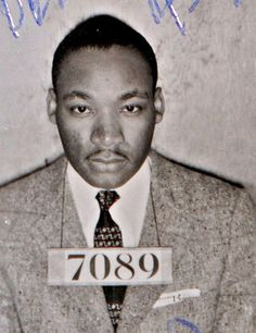 Iconic photos of Dr. Martin Luther King Jr.  Dr. Martin Luther King Jr., is seen in a mugshot from Montgomery Alabama Sheriff's Office on Feb. 22, 1956.
