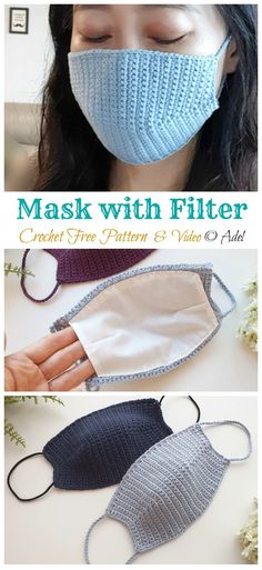 10 Face Mask Crochet Free Patterns Face Mask Crochet Free Patterns: Surgery Face Mask, Face Mask cover Up, Adult and kids face mask handmade DIY mask distancing Crochet Mask, Crochet Diy, Crochet Faces, Crochet Gratis, Learn To Crochet, Unique Crochet, Crochet Ideas, Knitting Patterns Free, Free Knitting