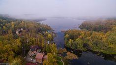 Morning fog - September morning, the lake Uvildy