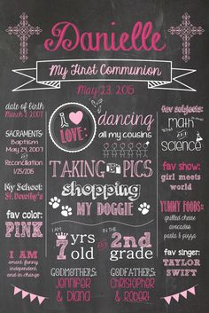 Chalkboard First Communion or Confirmation by PaigePartyPrintables