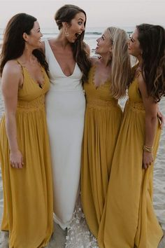 fall long bridesmaid dresses, Mustard Yellow Bridesmaid Dresses With Appliques, cheap chiffon wedding party dresses for guest #dressywomen #wedding #weddingdresses #bridesmaids #longdresses