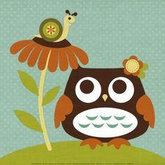 Owl Looking at Snail Julisteet tekijänä Nancy Lee AllPosters.fi-sivustossa