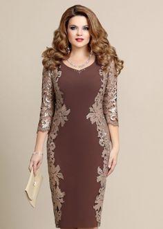 Платье шоколадное, украшенное кружевом – купить в интернет-магазине «L'MARKA»: доставка по России
