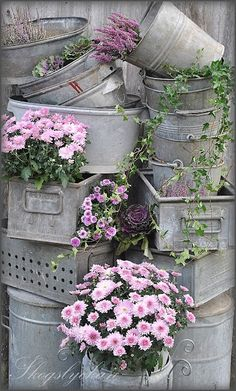 Galvanized metal containers.