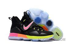 super popular f68f3 90c74 Nike LeBron 14 SBR Black Rainbow Multi Color