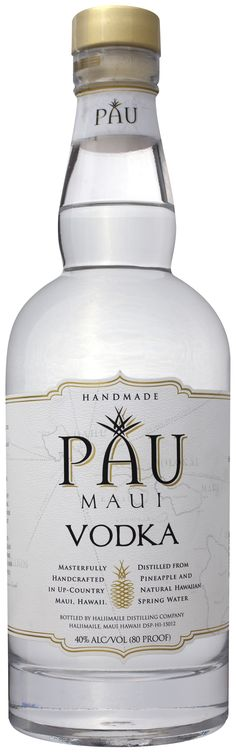 Handcrafted in small batches by Hali'imaile Distilling Company, Pau Maui vodka is the essence of purity and cleanliness, and is distilled using Hawaiian Pineapples, with no hint of pineapple flavor in the finished product. Every ingredient that goes into the vodka is born on the islands, and the utmost in care is taken to ensure purity at every stage of the process.