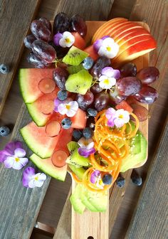 Fruit and greens with flower. 😍