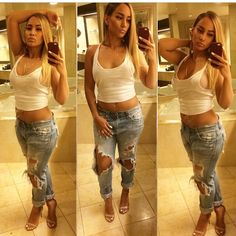 Marques Houston gf looks super cute in this casual outfit .