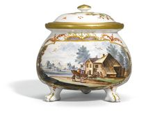 A MEISSEN CREAM POT AND COVER, CIRCA 1722-24 of squat form on three paw feet affixed with a scroll handle, probably painted by Ch. F. Herold, with a large landscape panel of figures in a cart outside a tavern, within a quatrefoil frame filled with Böttger lustre picked out in gilding, embellished with iron-red scrollwork, with branches of indianische Blumen, gilt numeral 3. to both pieces, restoration to rim of cover,