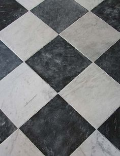 Soho Gray and White Marble: Square marble tiles ideal for checkerboard floors Marble Bathroom Floor, White Marble Bathrooms, Bathroom Flooring, Kitchen Flooring, Tile Floor, Flooring Tiles, Marble Tiles, Modern Flooring, Farmhouse Flooring