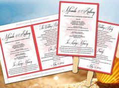 Wedding Fan Program Template - Tropical Coral Guava Lazy Palm Beach Wedding Ceremony Program - Outdoor Beach Wedding Program Favor by PaintTheDayDesigns, $10.00