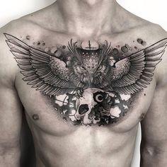 Search inspiration for a Blackwork tattoo. Body Art Tattoos, Sleeve Tattoos, Cool Tattoos, New Tattoos, Owl Tattoo Chest, Owl Tattoo Drawings, Tattoo Images, Tattoo Photos, Desenho Tattoo
