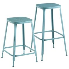 Weldon Backless Bar & Counter Stools - Teal | Pier 1 Imports