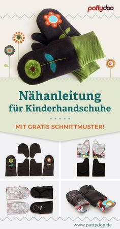 Free sewing pattern for sewing cozy gloves for children. - Free sewing pattern for sewing cozy gloves for children. With the sewing instructions, the mittens - Sewing Patterns For Kids, Sewing Projects For Kids, Sewing For Kids, Free Sewing, Pattern Sewing, Sewing Toys, Sewing Clothes, Modele Hijab, Fabric Purses