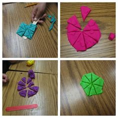 A differentiated way to show fractional parts of a whole... using mini cans of play-doh - Oh, I like this!!!