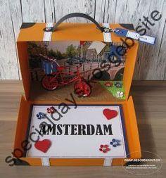 DIY gift crafting – suitcase Amsterdam travel voucher city trip birthday gift voucher … - Birthday Presents Birthday Gifts For Bestfriends, Birthday Box, 17th Birthday, Birthday Presents, S Videos, Diy Gifts For Friends, Amsterdam Travel, Explosion Box, The Originals