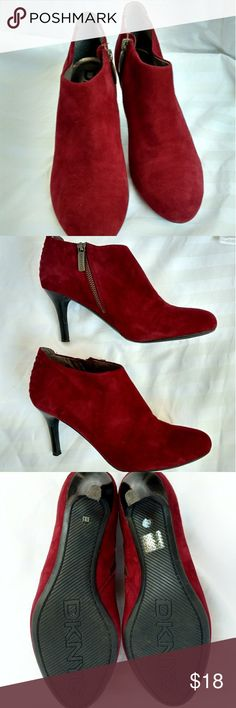 """DKNY suede booties Excellent used condition DKNY wine colored suede bootie. Heel is approximately 3"""" high.  All offers will be considered. Thanks for looking! DKNY Shoes Ankle Boots & Booties"""