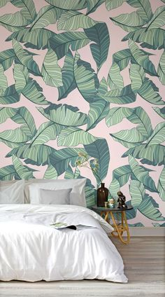 Adding a little touch of tropical to your home is never a bad call. These Botanical Murals work great in bedrooms, kitchen-dining area's and living rooms, but looks lovely in bathrooms too. They add just a touch of greenery to your space, bringing a breath of fresh air. They are styled best with simple a slick furniture, allowing the mural to take center stage, and adding balance to your home. #wallpaper #wallmurals #interior #design #decor #accentwall #homedecor