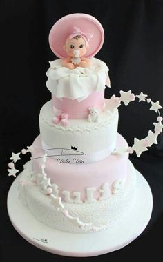 Original baby shower cakes Today I want to share with you a very complete gallery with different very original cake designs that you can use for your baby Pretty Cakes, Cute Cakes, Beautiful Cakes, Amazing Cakes, Torta Baby Shower, Baby Girl Cakes, Gateaux Cake, Fondant Baby, Wedding Cake Decorations