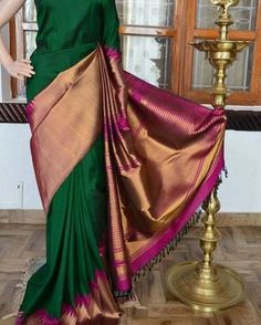 "1,262 Likes, 79 Comments - @vaishucollections on Instagram: ""#Pure #zari #kanchipuram #handloom #silk #Saree with #rising #temple #saree Shipping: worldwide…"""