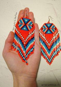 Oranje kralen oorbellen native zaad parel oorbellen lang Tribal Earrings, Big Earrings, Seed Bead Earrings, Fringe Earrings, Beaded Earrings, Seed Beads, Crochet Earrings, Navajo, Beading Patterns